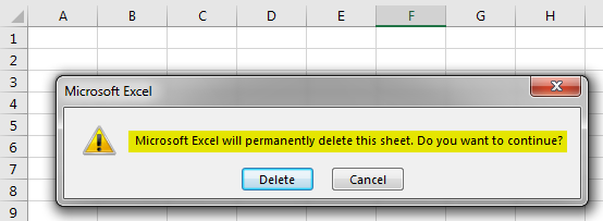 VBA Delete Sheet Example 1-4