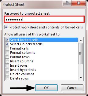 VBA Unprotect Sheet Example 1-8