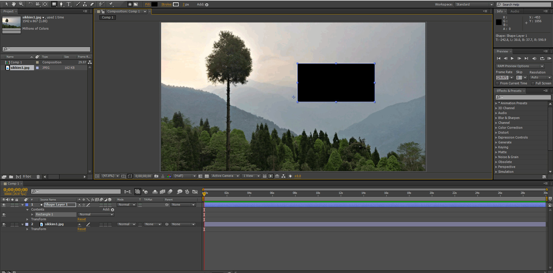 adding 2 layers (track matte in after effects)