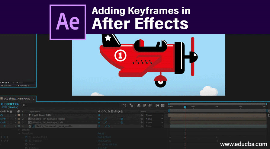 adding keyframes in after effects
