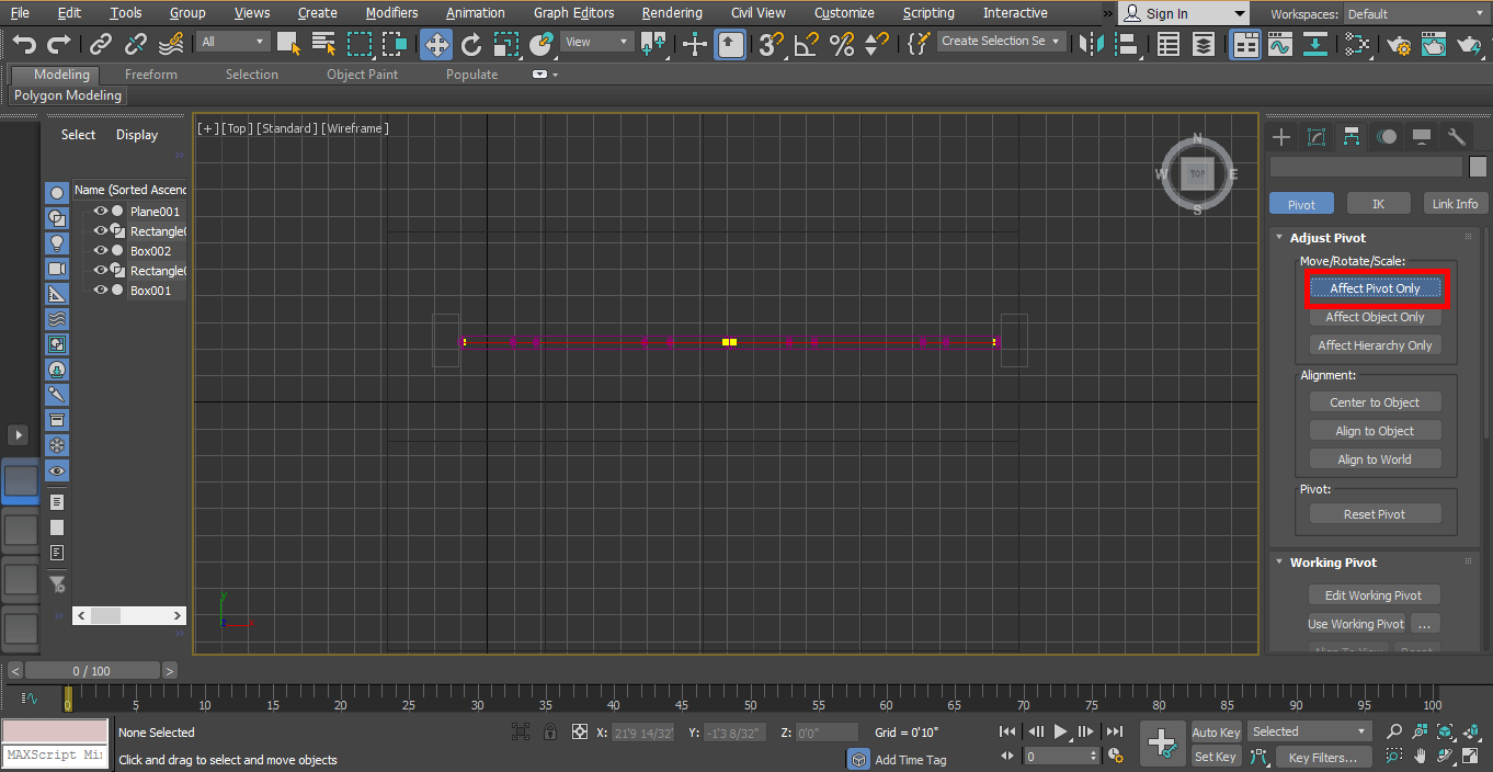 affect pivot (Animation in 3ds Max)