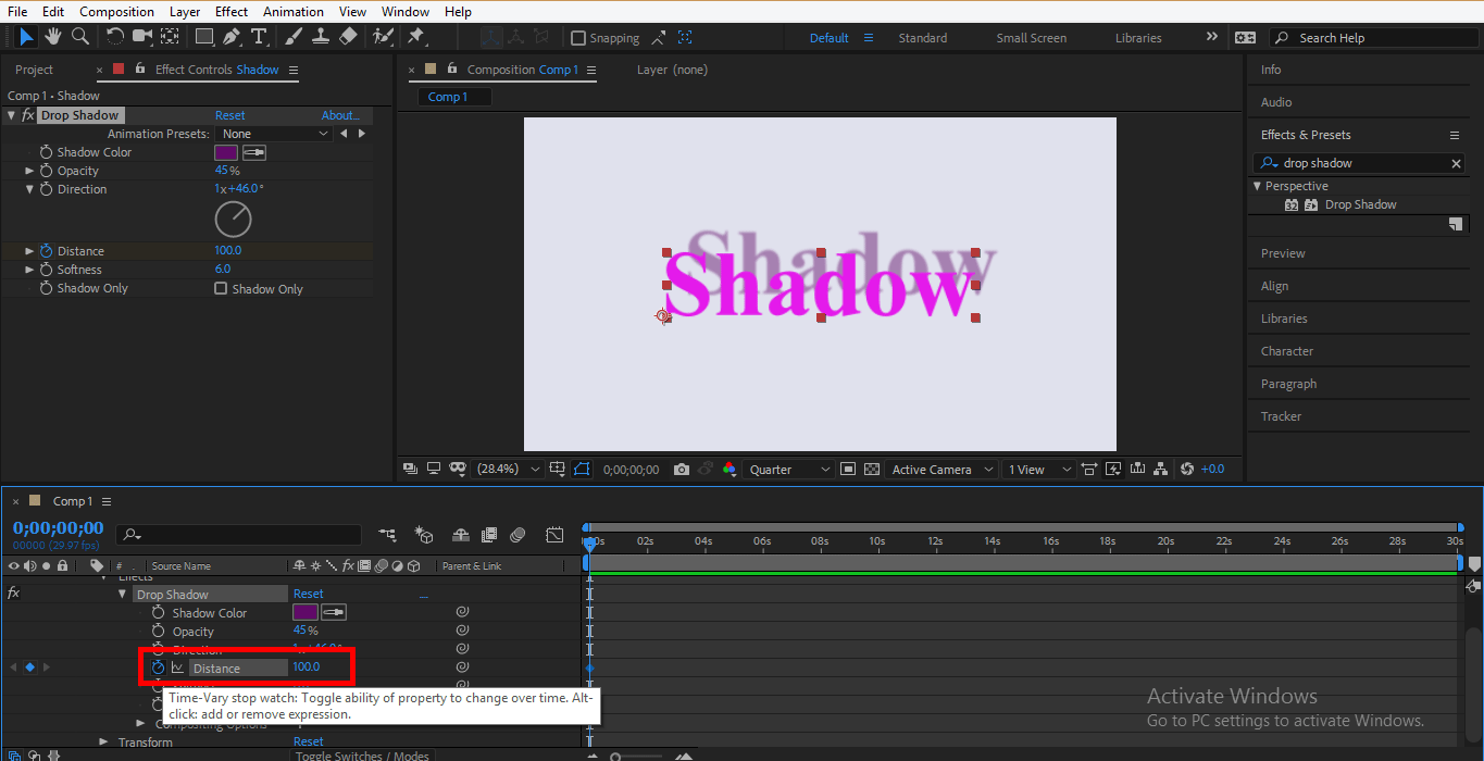 animate drop shadow text