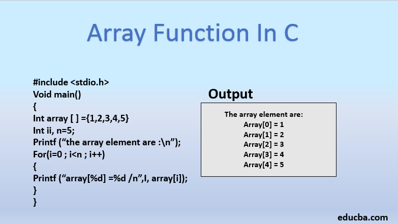 array function in C
