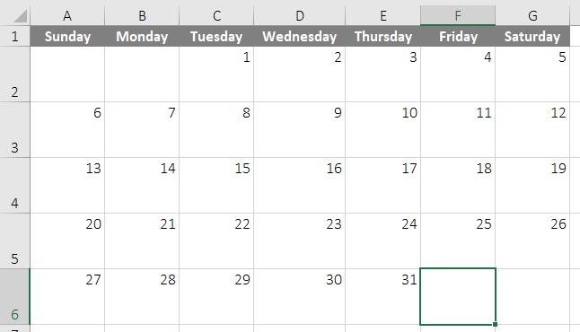 calendar template in excel 3