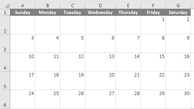 calendar template in excel 4