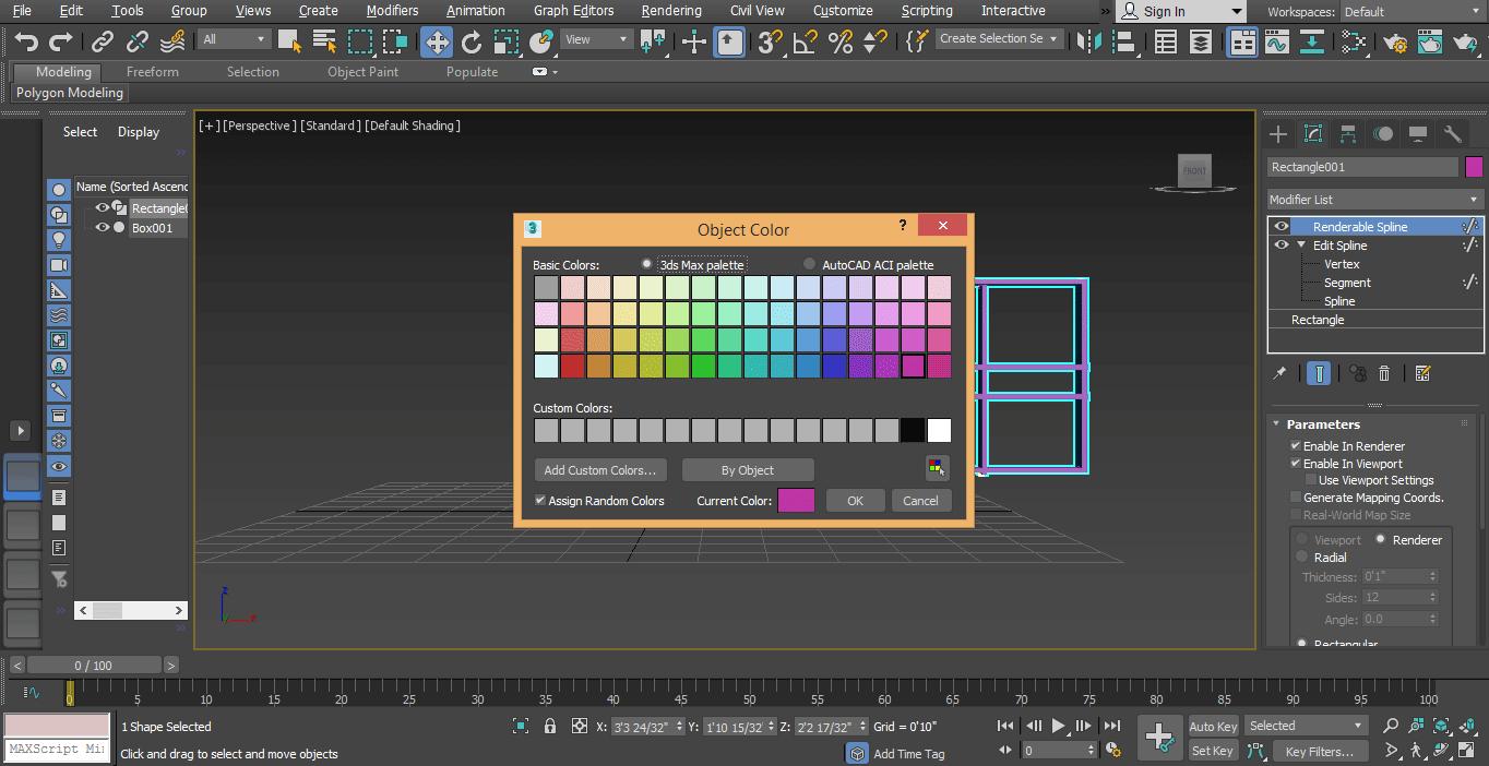 color dailog box