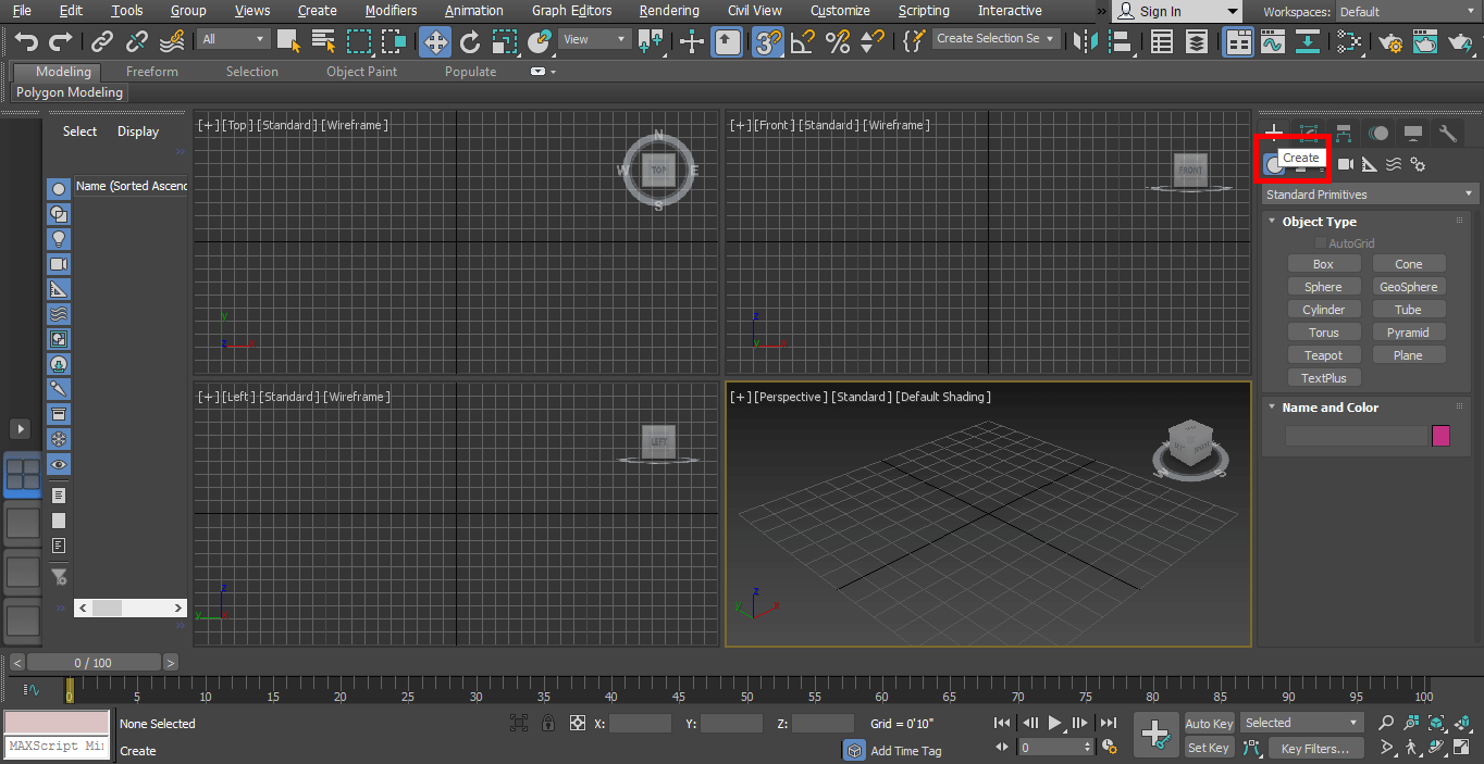 create tab (Animation in 3ds Max)