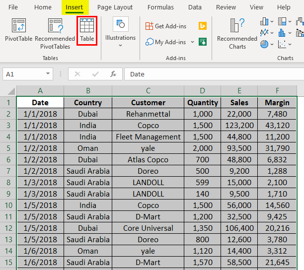 Shade Alternate Rows in Excel 1-3