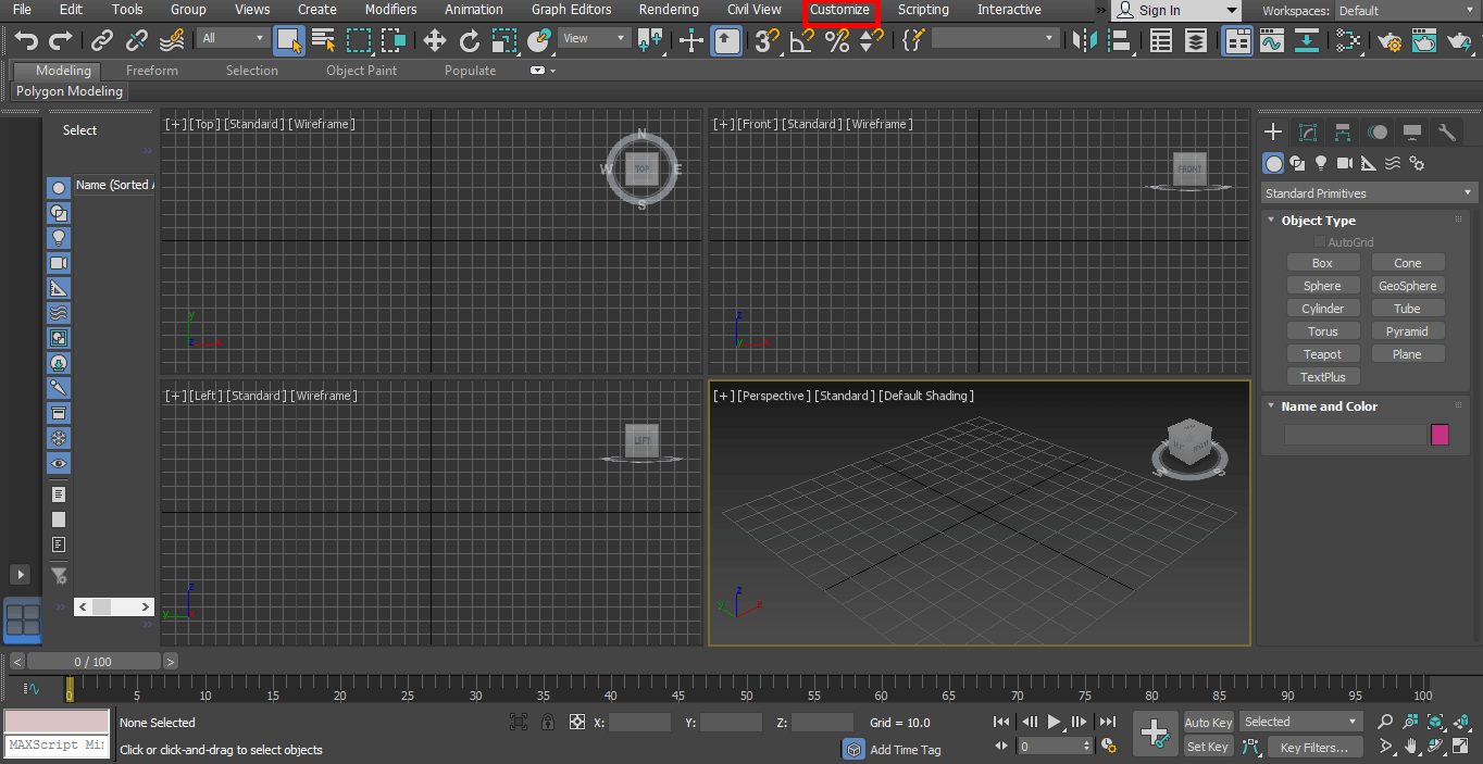 customize botton (Rendering in 3ds Max)