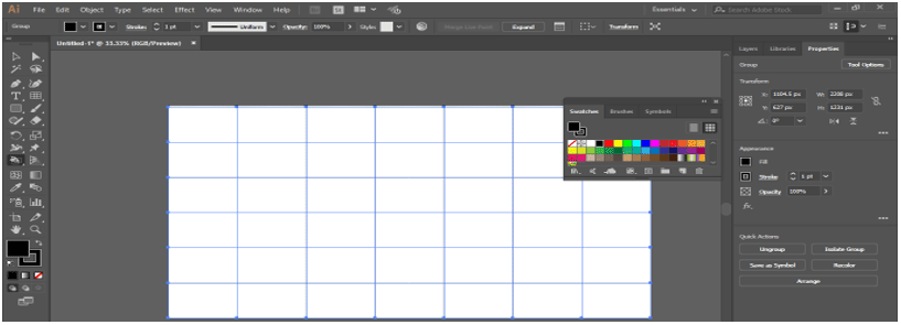 dialog box of swatches