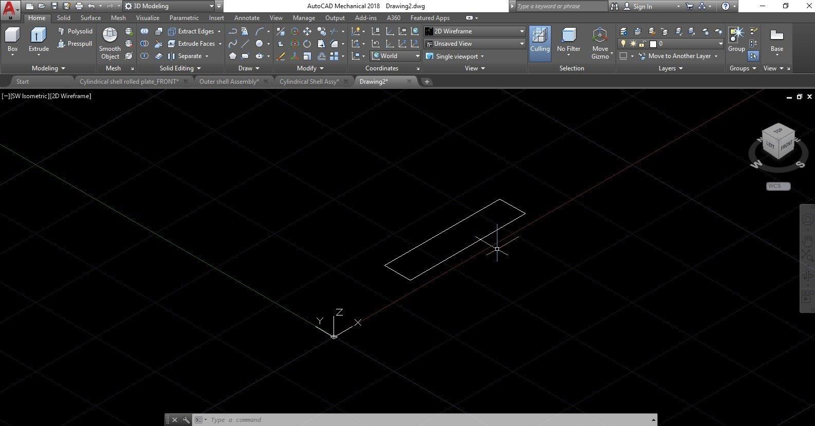 extrude a rectangular shape