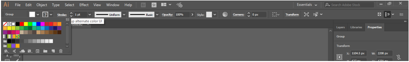 fill color from the control panel