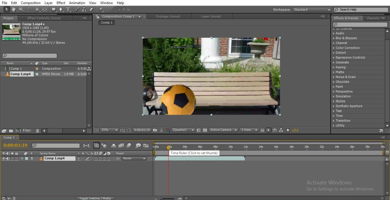 import a video (mask in after effects)