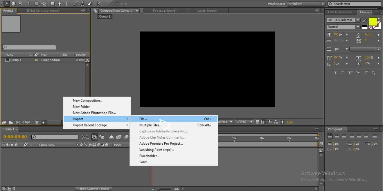 import video (Adding Keyframes in After Effects)