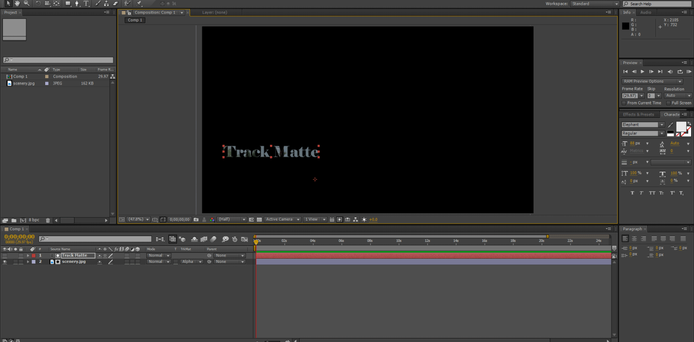 motion graphic ( track matte in after effects)