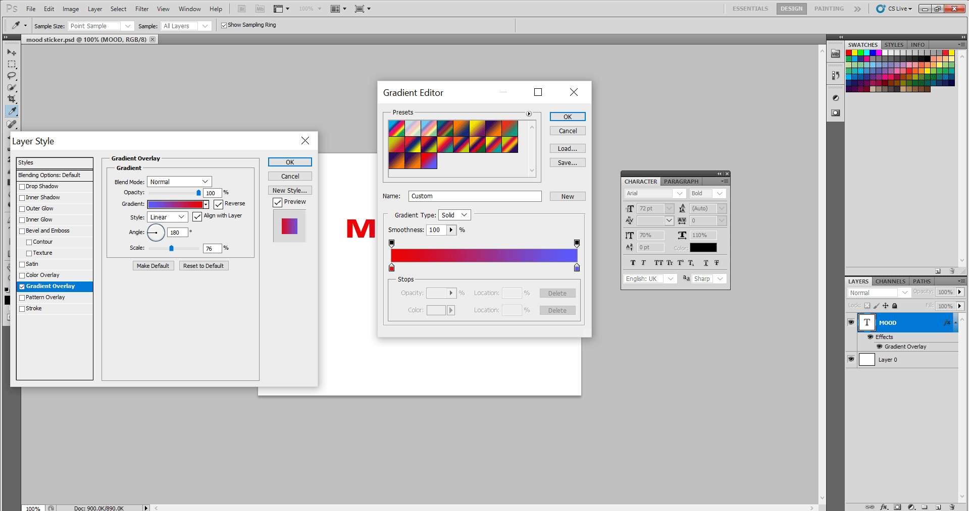 open the gradient editor