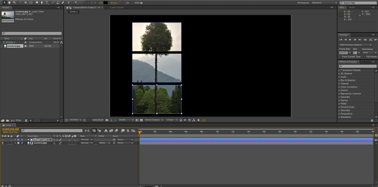 output effects (track matte in after effects)