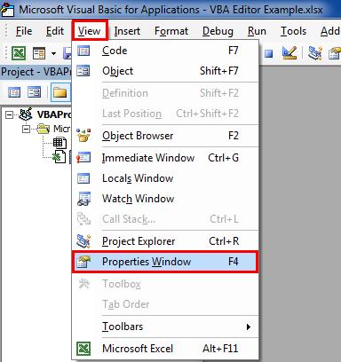 VBA Editor properties window 1