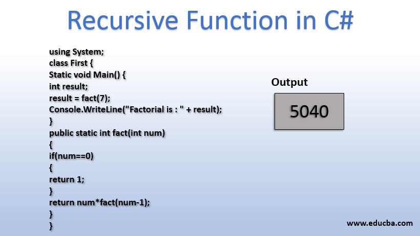 recursive function in C#