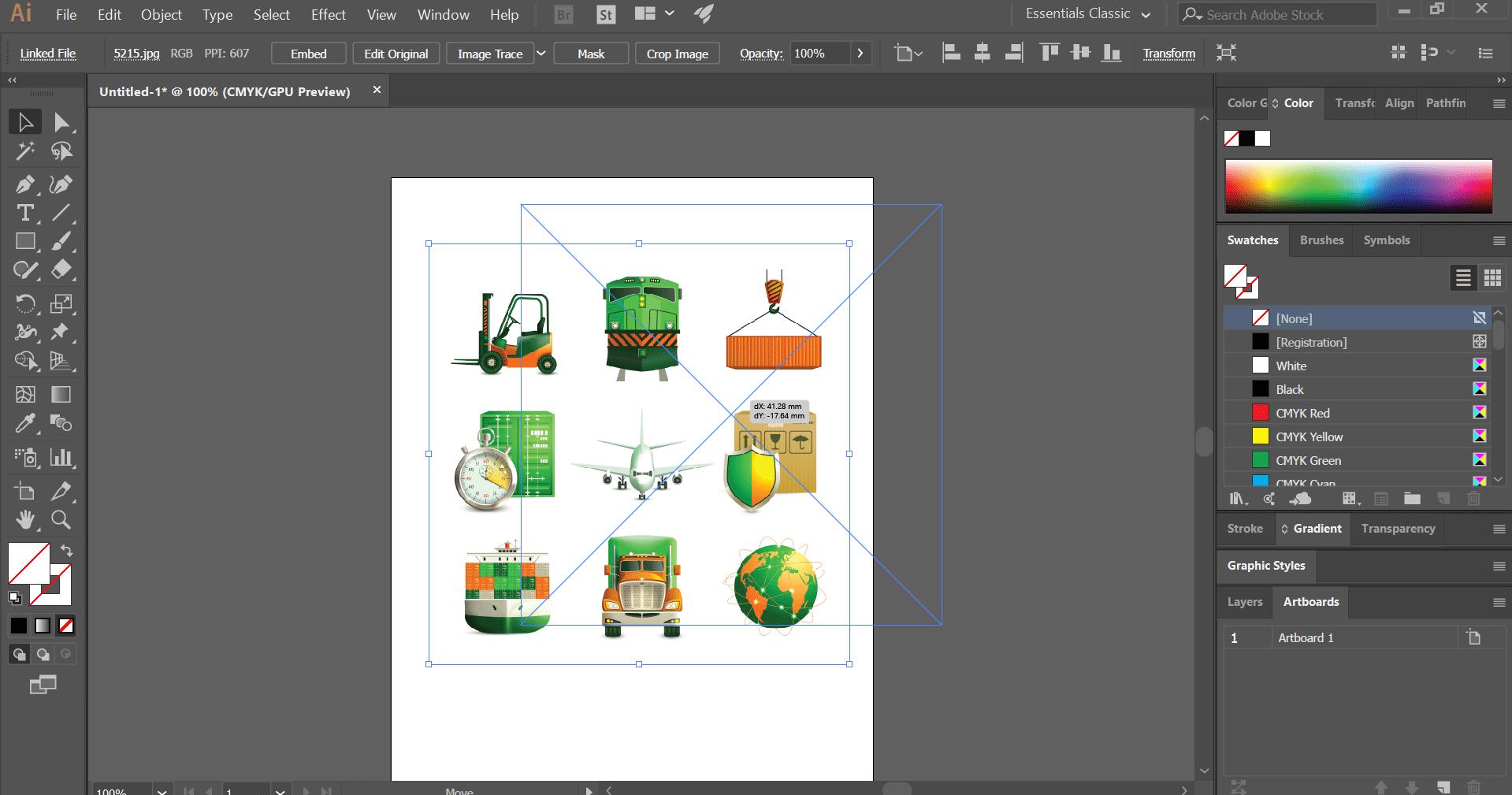 resize image (Insert Image in Illustrator)