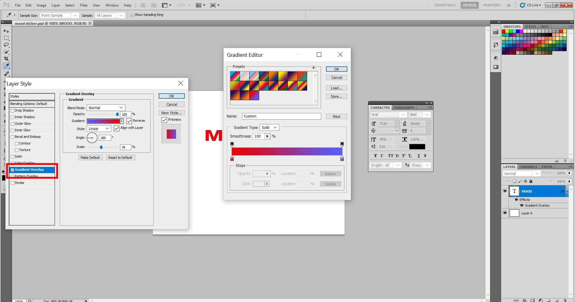 Adding Mood Sticker in Photoshop 8