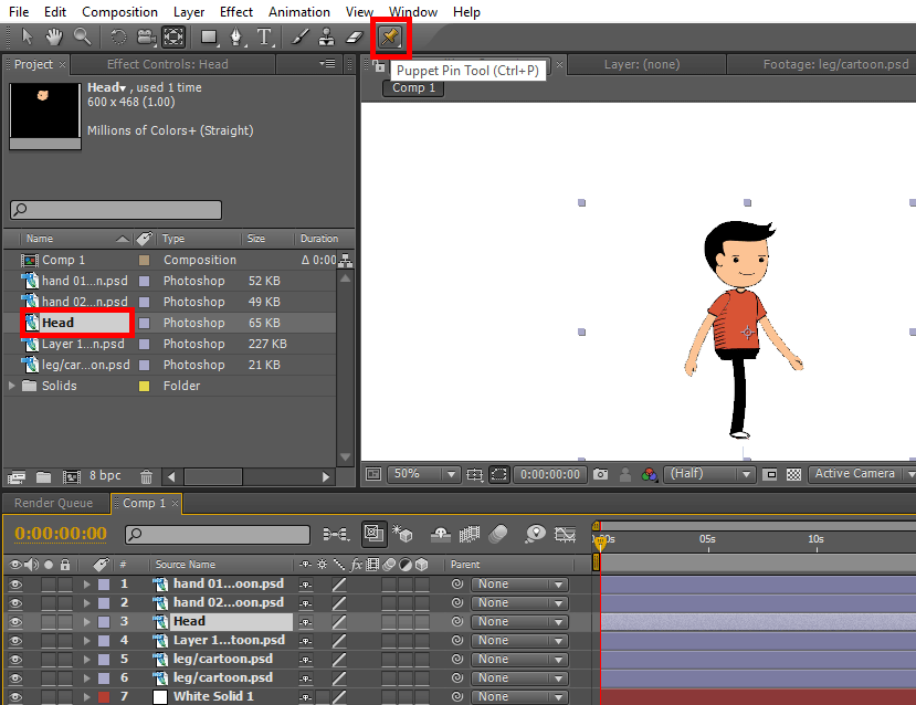 Puppet Pin Tool - 2D After Effects Animation