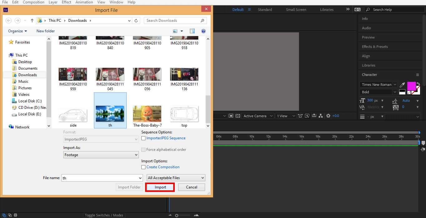 importing image (color correction)