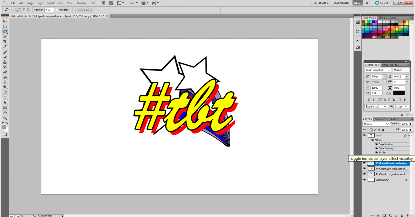 Text Effects in Photoshop - tbt sticker ready