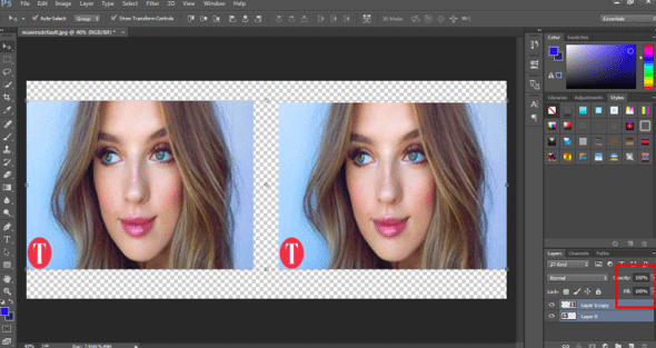 transforming both layers (smart work in photoshop)