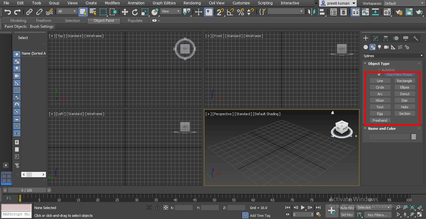 2d shape (Spline in 3ds Max)