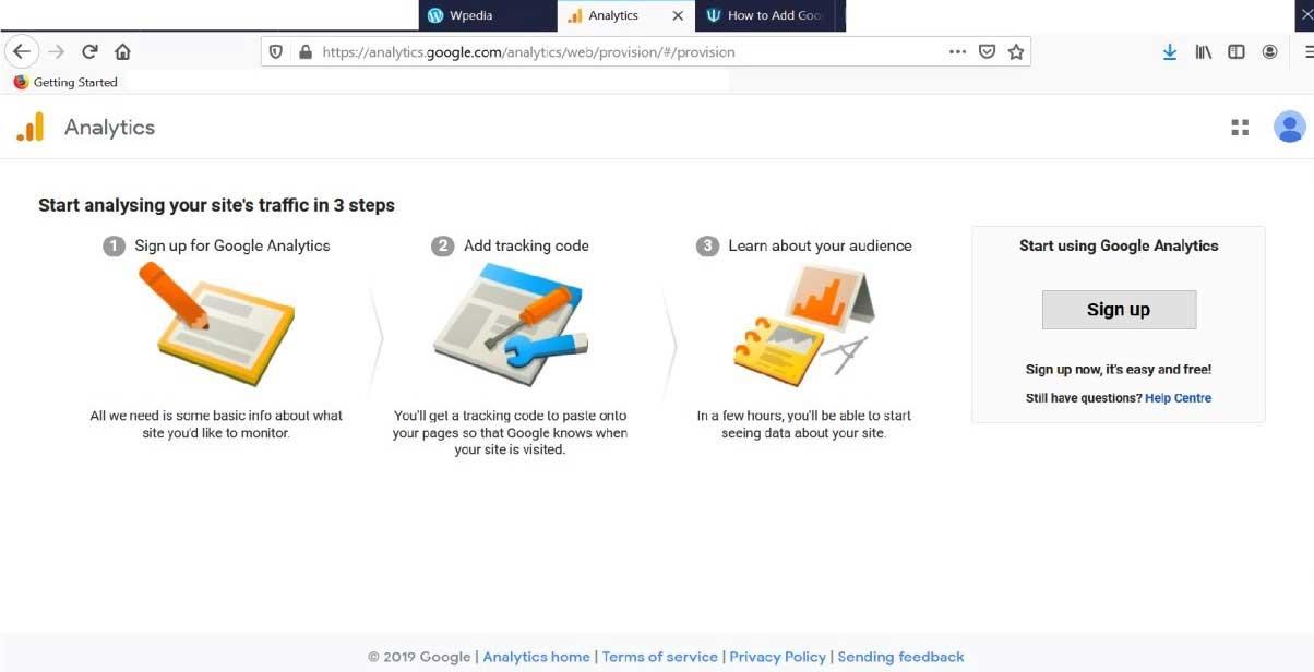 Add Google Analytics to WordPress-1.1