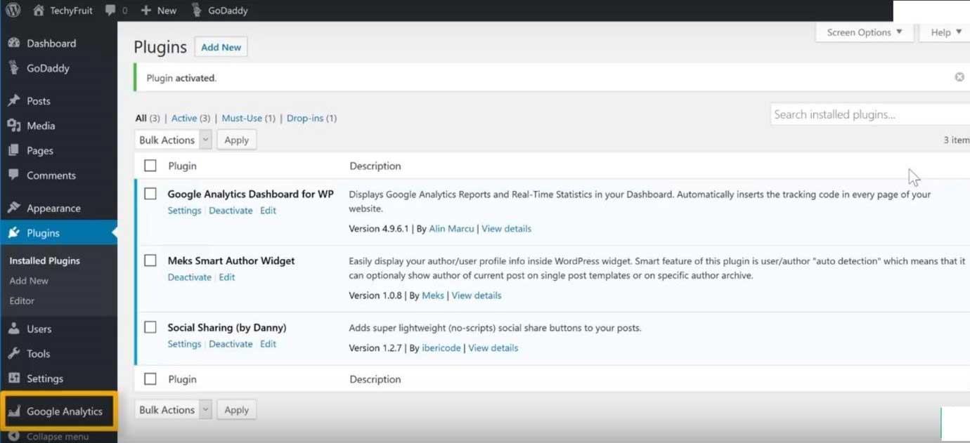 Add Google Analytics to WordPress-1.5