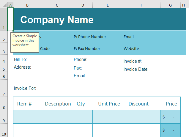Blank Invoice Excel Template Example 1-5