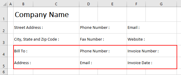 Blank Invoice Excel Template Example 2-4