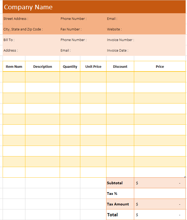 Blank Invoice Excel Template Example 2-8