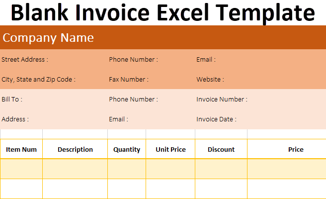 Blank Invoice Excel Template
