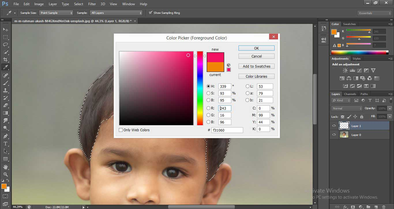 Change Hair Color in Photoshop 1-15