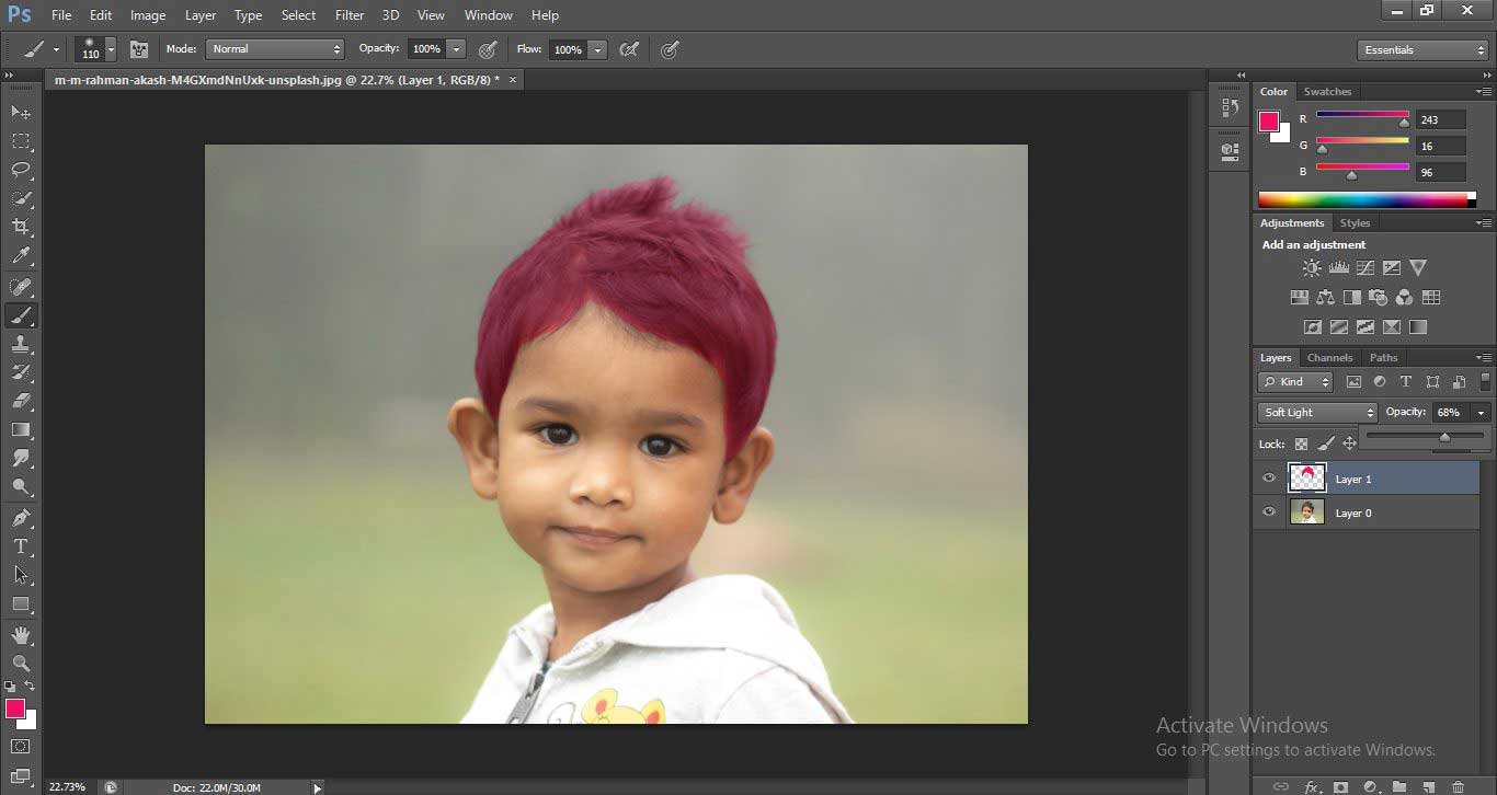 Change Hair Color in Photoshop 1-23
