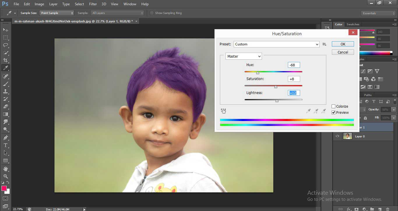 Change Hair Color in Photoshop 1-25