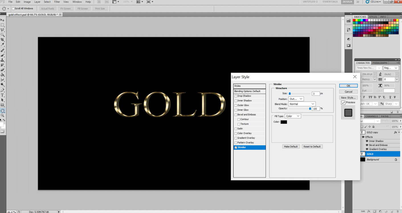 Gold Text Effect in Photoshop 1-13