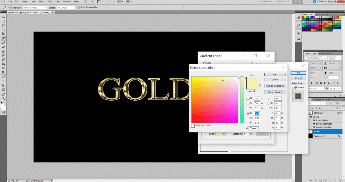 Gold Text Effect in Photoshop 1-15