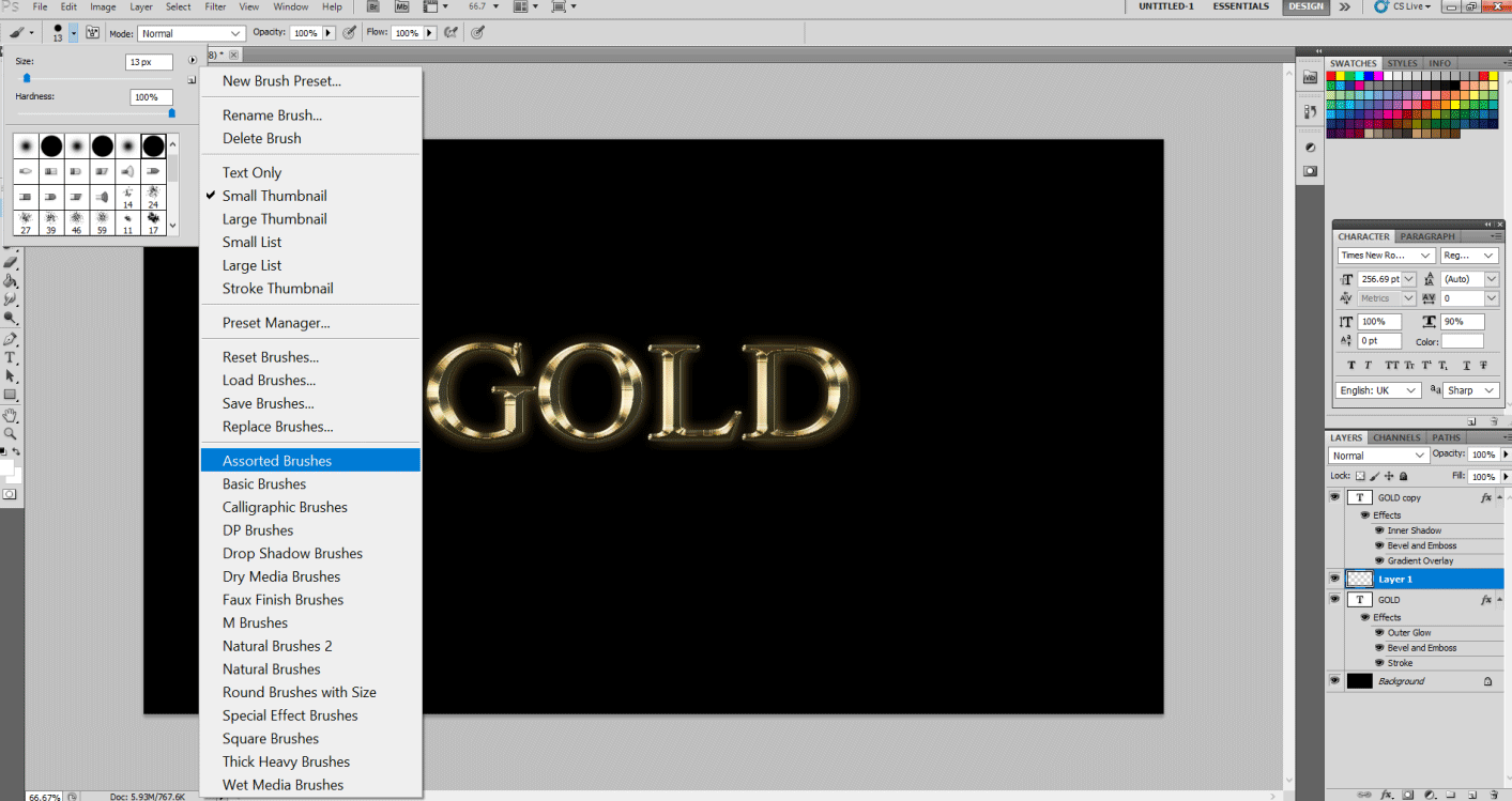 Gold Text Effect in Photoshop 1-18