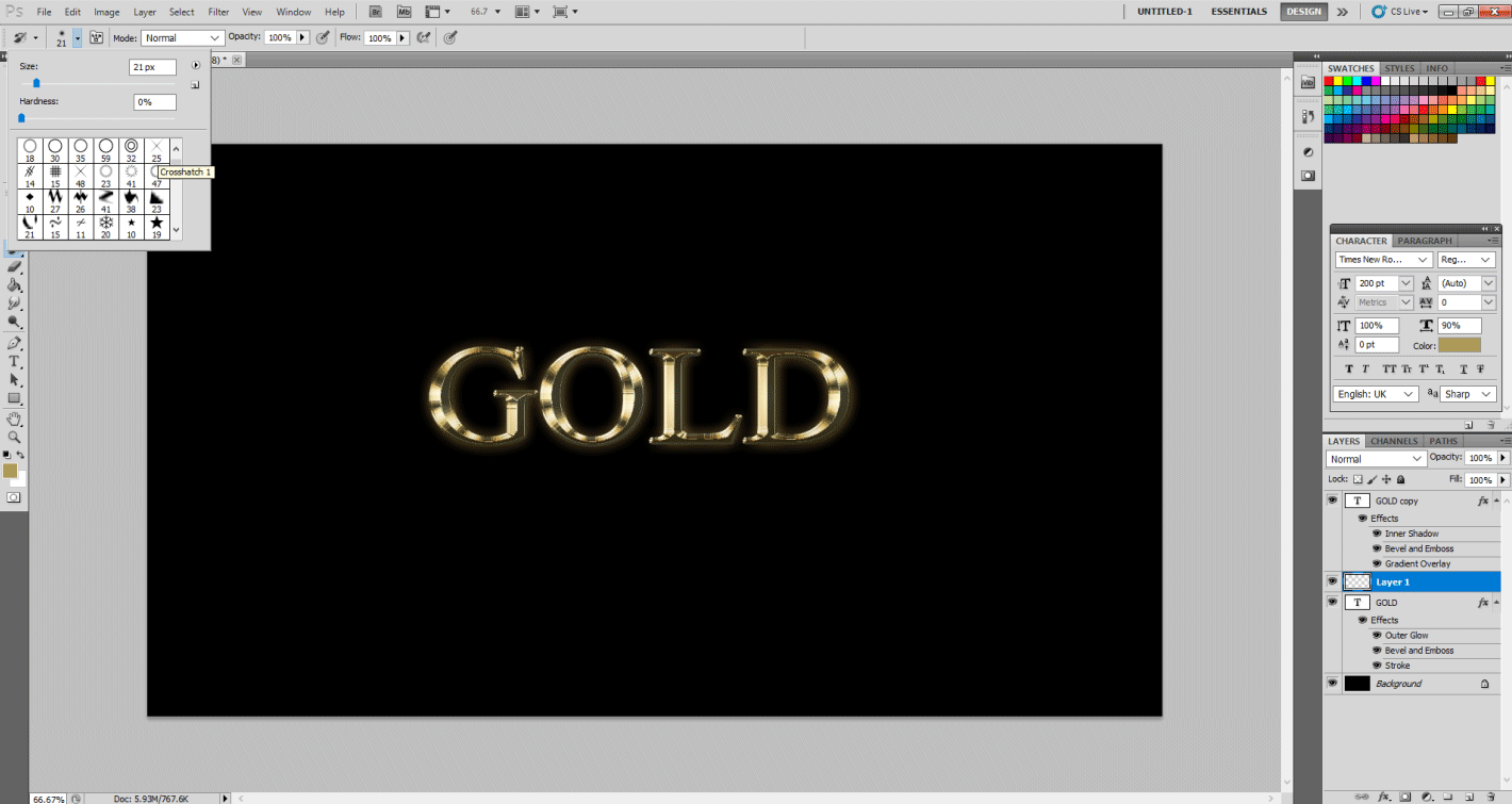 Gold Text Effect in Photoshop 1-19