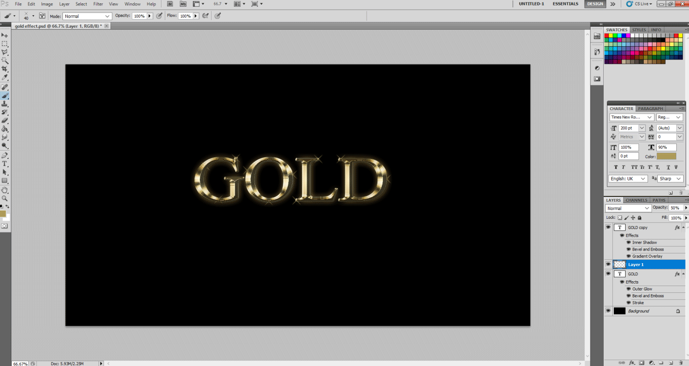 Gold Text Effect in Photoshop 1-20