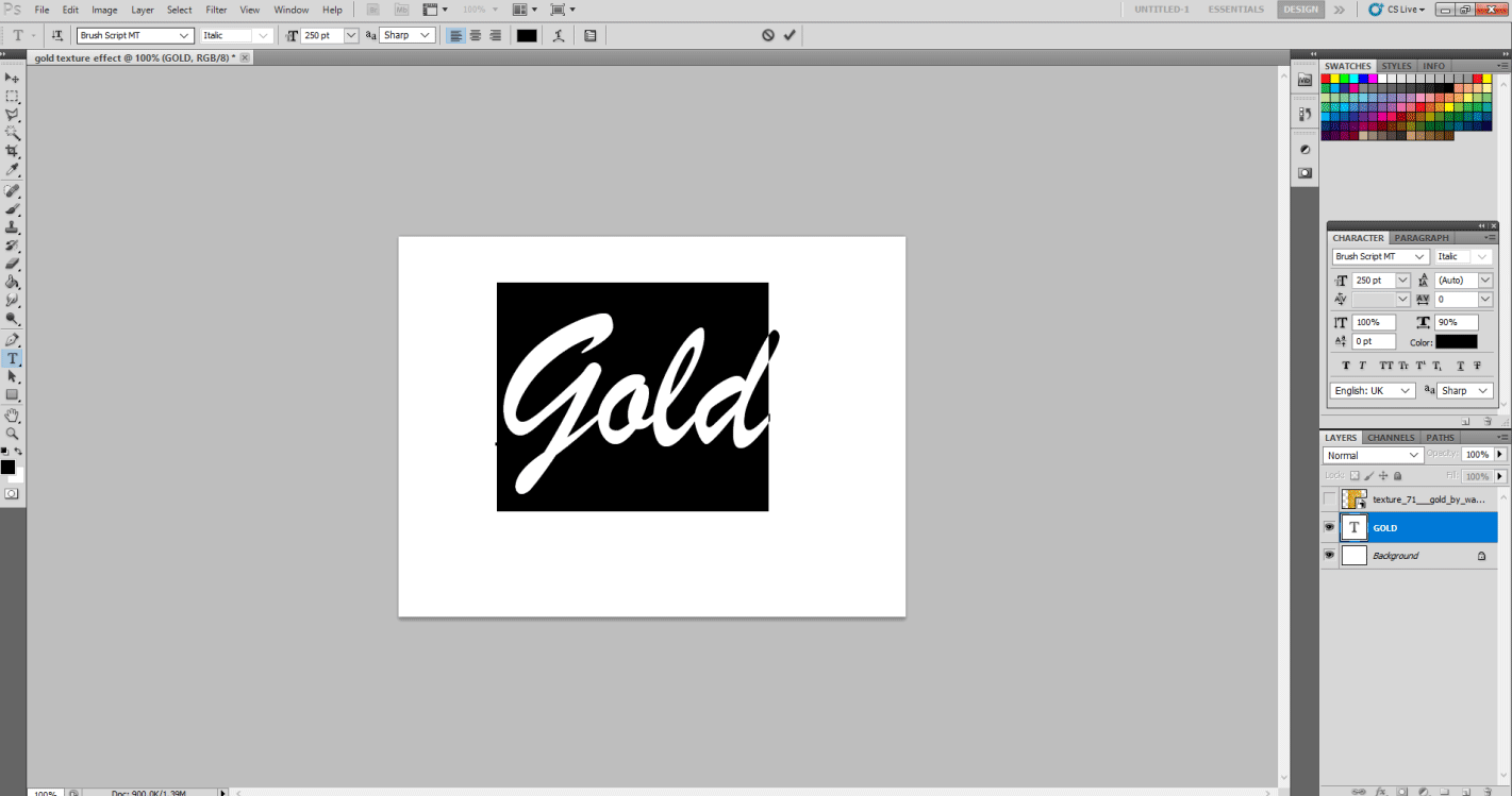Gold Text Effect in Photoshop 1-25