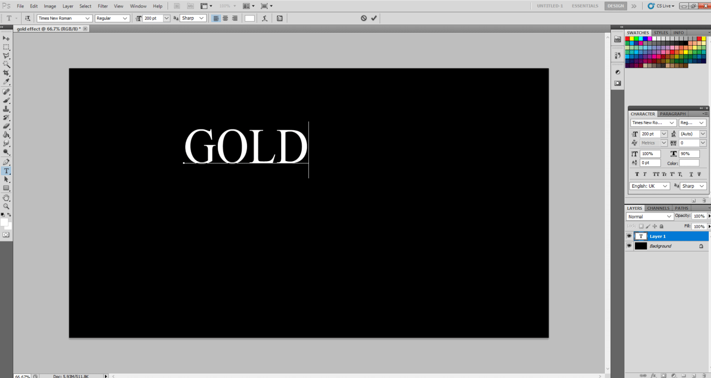 Gold Text Effect in Photoshop 1-3