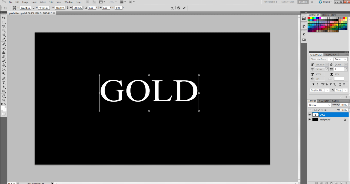 Gold Text Effect in Photoshop 1-4