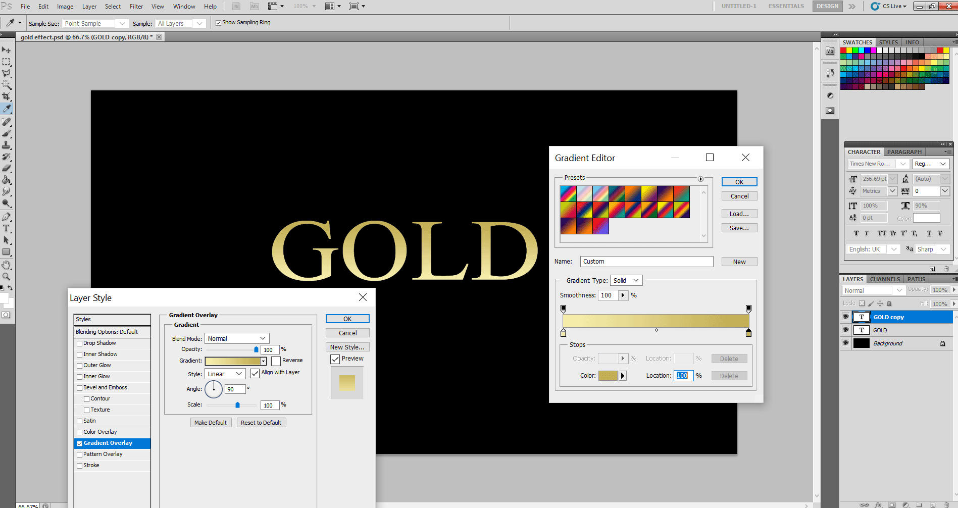 Gold Text Effect in Photoshop 1-8