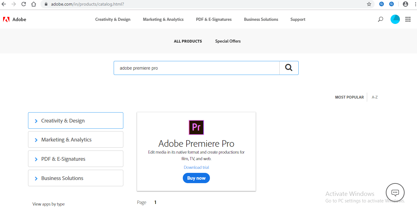 Adobe Premiere Pro option