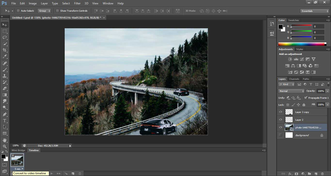 Convert to Video timeline
